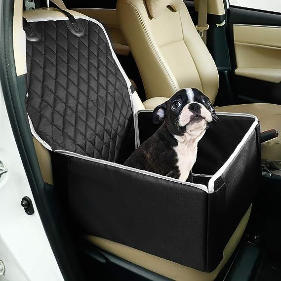 Toozey Hunde Autositz Für Kleine Und Mittlere Hunde Extra Stabiler Hundesitz Für Rückbank Und Beifahrersitz Verstärkte Wände Wasserabweisend Faltbar 45 X 45 X 25 Cm Schwarz Haustier