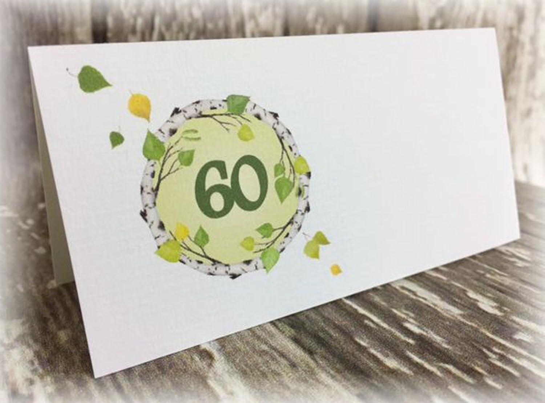Tischkarte Namenskarte Blätter runder Geburtstag 40 50 60 70 80 90 Tischdeko personalisierbar grün …