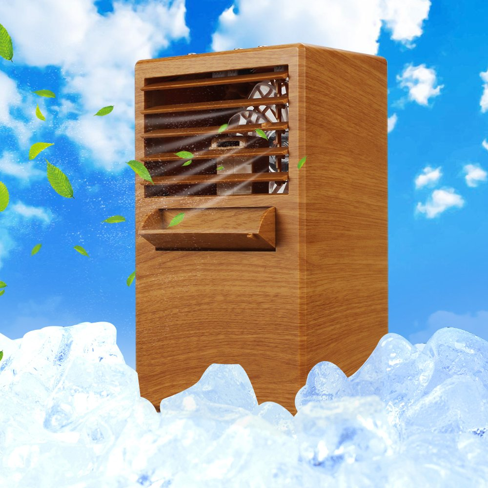 SUPOW Air Humidifier Cooler, Desktop Misting Fan Mini 9.5 inch Noiseless Small Air Conditioner for Summer