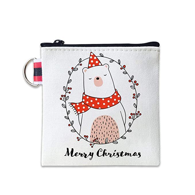 dbb6158e1489 Draw Cute Bear In Wreath Christmas Canvas Coin Purse Cash Bag Small ...