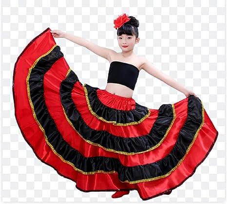 SMACO Traje de niña española Falda Larga de Flamenco roja Falda de Baile de salón para niños Falda de Danza del Vientre para niños: Amazon.es: Deportes y aire libre