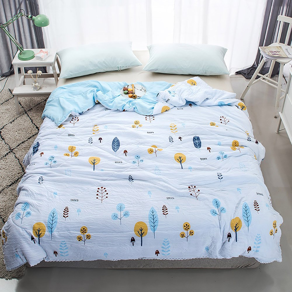 Enjoylife Fresh Style Animal Printed Thin Quilt Cotton Soft Cartoon Comforter Trees Bedspread Twin(59''x79'') for Girls Boys