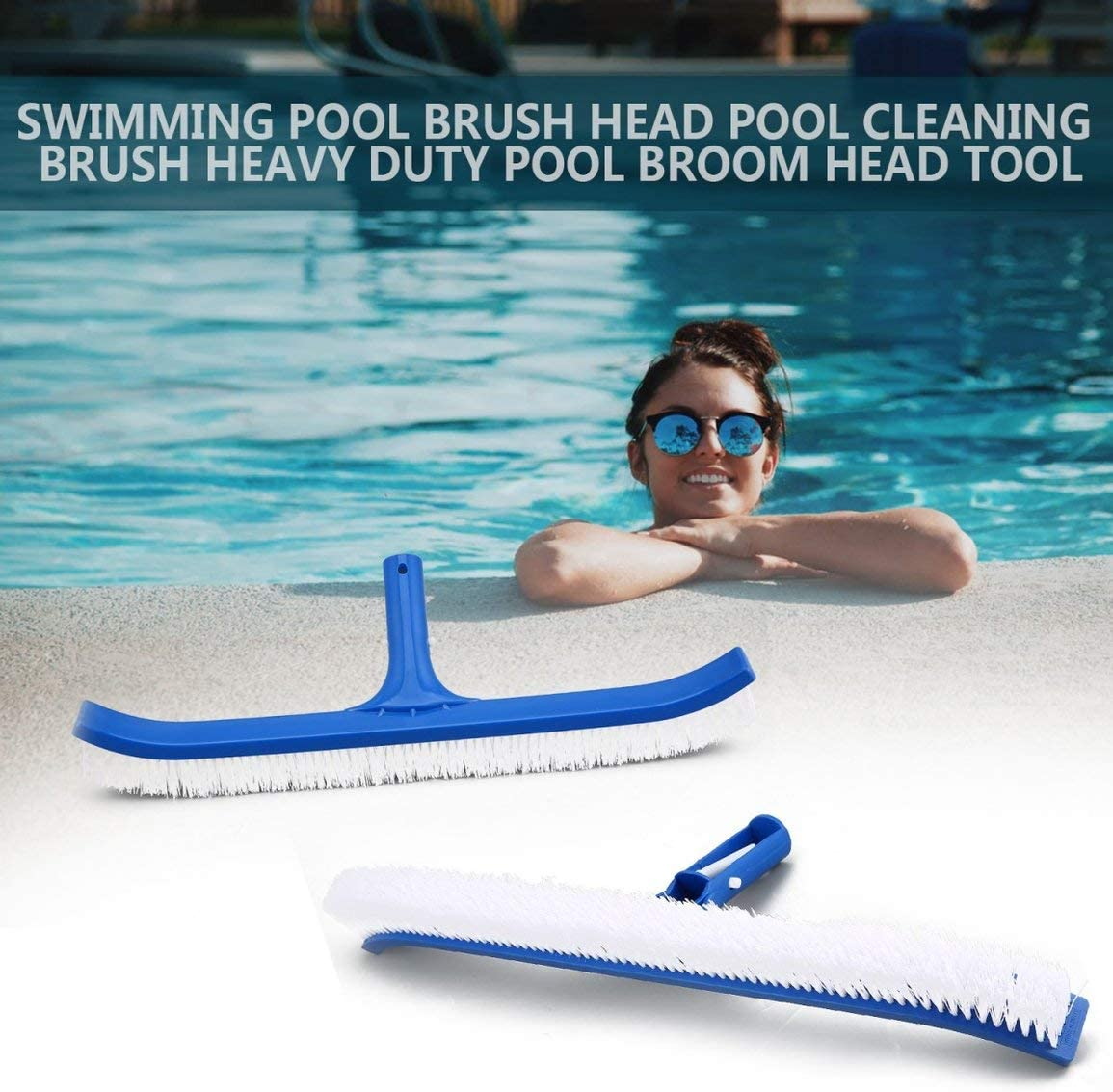 Fantasyworld Pool Brush Head Pool Cleaning Brush Heavy Duty Pool Broom Head Tool for All Pools Wall Tiles and Floors