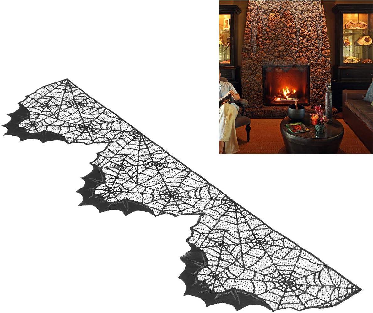 BESTOYARD Halloween Fireplace Cloth Decor Bat Spider Web Lace Stove Cloth for Ghost Festivsl Fireplace Black