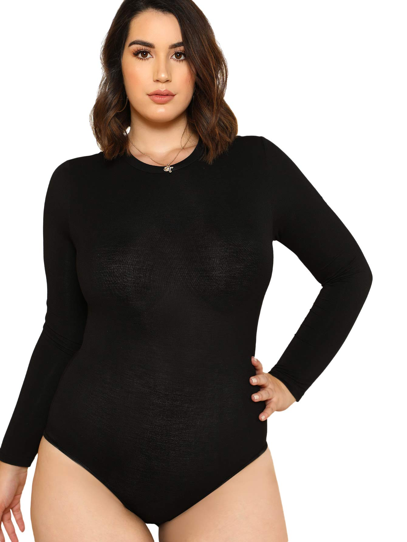 1f2a210f8f SweatyRocks Women s Plus Size Solid Long Sleeve Round Neck Slim Fitted  Leotard Bodysuit Lingerie Casual Jumpsuits Black 2XL