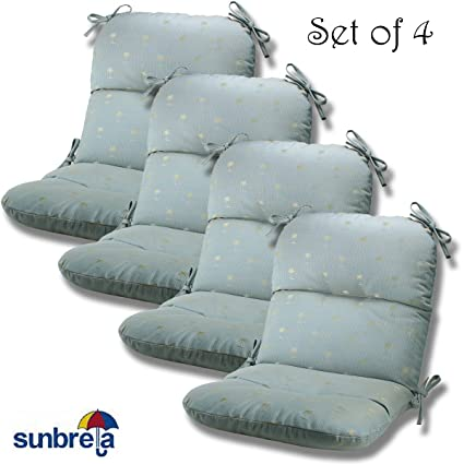 Set Of 4 Outdoor Chair Cushions 20 X 36 X 3 H 19 In Sunbrella Fabric Ellis Mist 45020 0003 By Comfort Classics Inc Made In Usa S