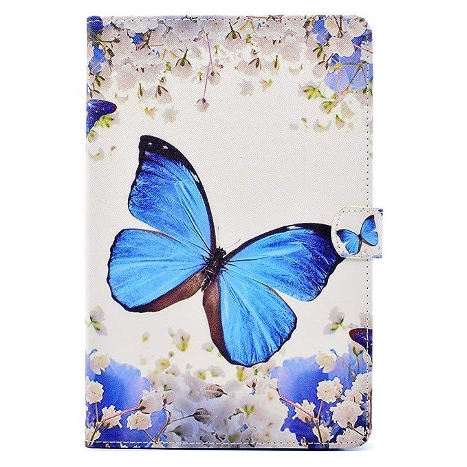 Felfy Kompatibel mit Galaxy Tab A 10.1 T580 T585 Hülle Case Tasche Flip Cover Ledertasche Blau Blumen Schmetterling Tasche Co