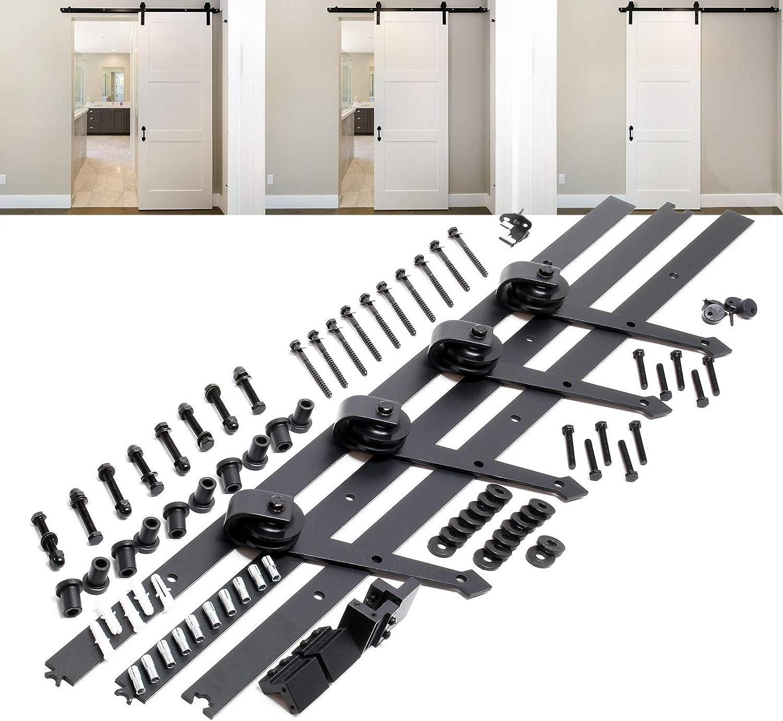 Sistema herrajes para 2 puertas correderas 366cm 8ft max.150kg Riel puerta deslizante Decoración: Amazon.es: Oficina y papelería