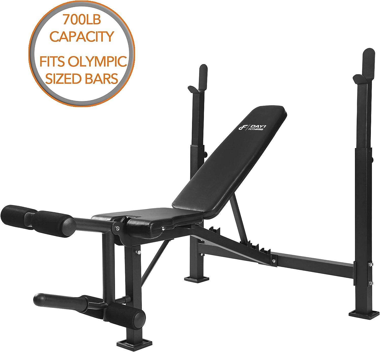 Day 1 Fitness オリンピックウエイトベンチ レッグデベロッパーアタッチメント D1F 筋力トレーニング パワーリフティングリクライニングワークアウトベンチ ウエイトリフティング用レッグエクステンション カール付き
