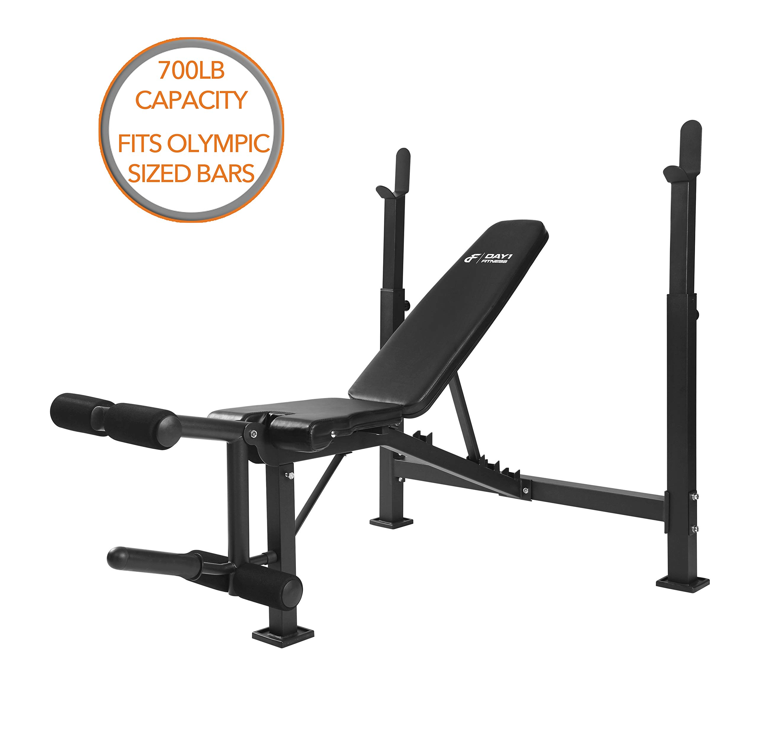 Day 1 Fitness Olympic Weight Bench with Leg Developer Attachment by D1F for Strength Training and Powerlifting Reclining Workout Benches with Leg Extension and Curls for Weightlifting