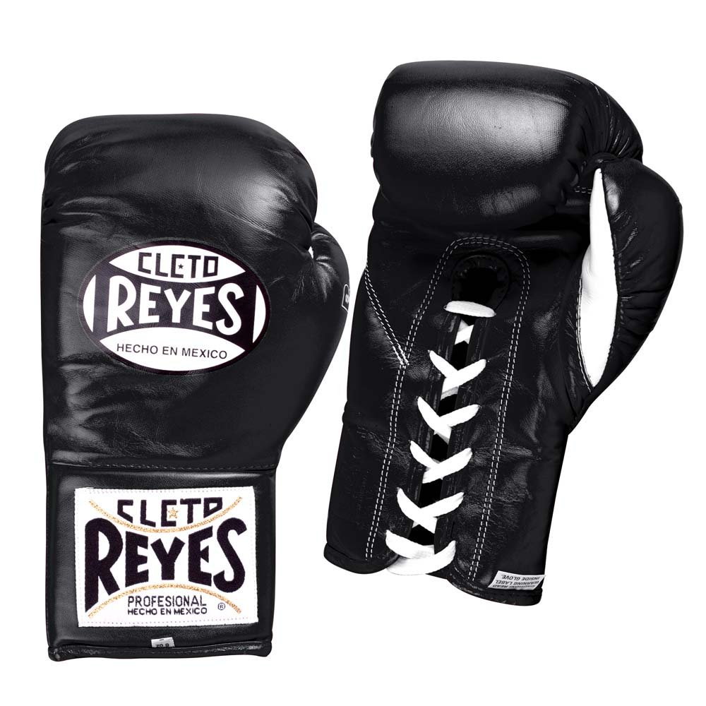 Black Cleto Reyes Safetec Professional Lace Up Training Boxing Gloves