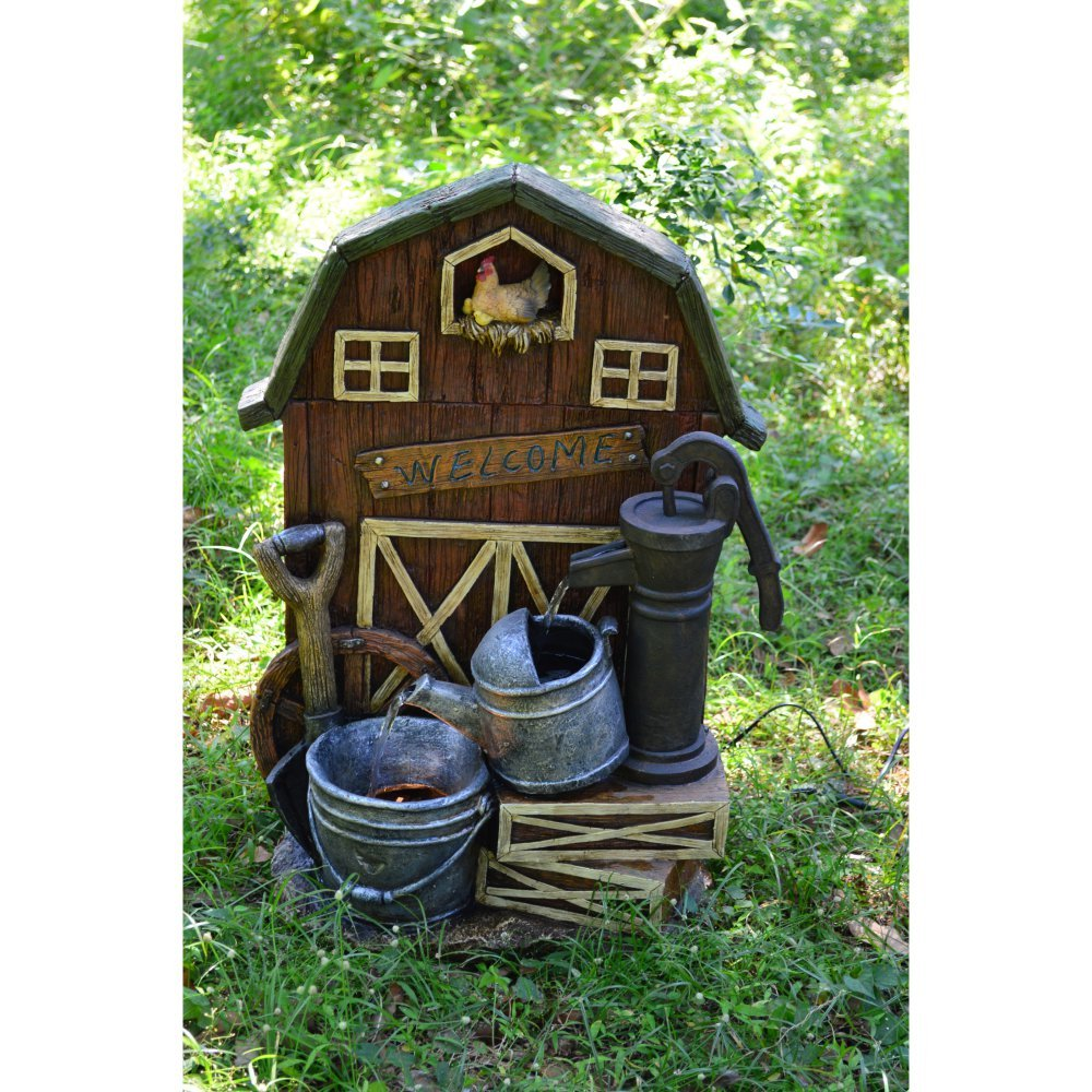Hi-Line Gift Ltd Barn with Hand Pump, Watering Can & Pail Fountain