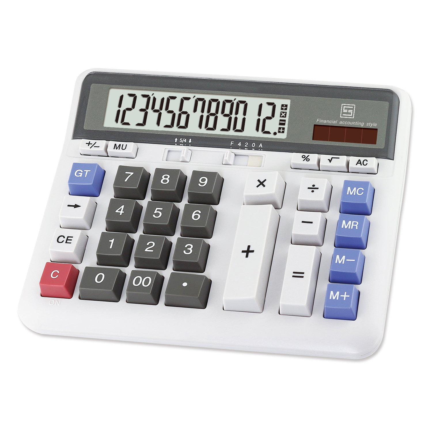 OFFIDIX Office Computer Key Electronic Calculator, Financial Calculators for Bank Stuff and Accouter, Financial Accounting Style 12-Digit Display with Battery and Solar Desktop Calculator Fathers' Day by OFFIDIX