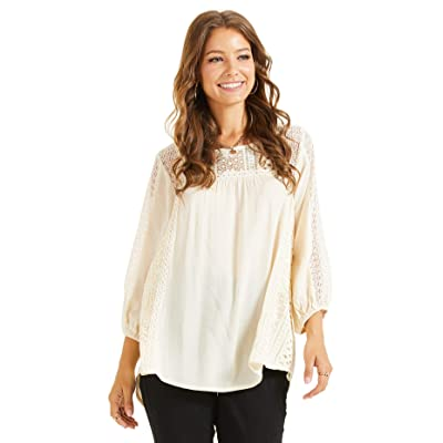 SONJA BETRO White Lace Inset Crinkle Woven 3/4 Balloon Sleeve Tunic Top Casual Bohemian Blouse Plus Size: Clothing
