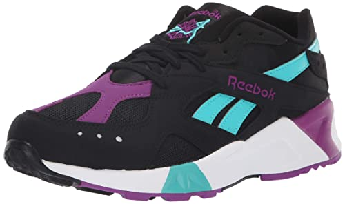 Reebok Aztrek CN7188 Mens Black Leather Casual Lace Up Low Top Sneakers Shoes
