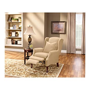Sure Fit Stretch Pique   Reclining Wing Chair Slipcover   Cream (SF38684)