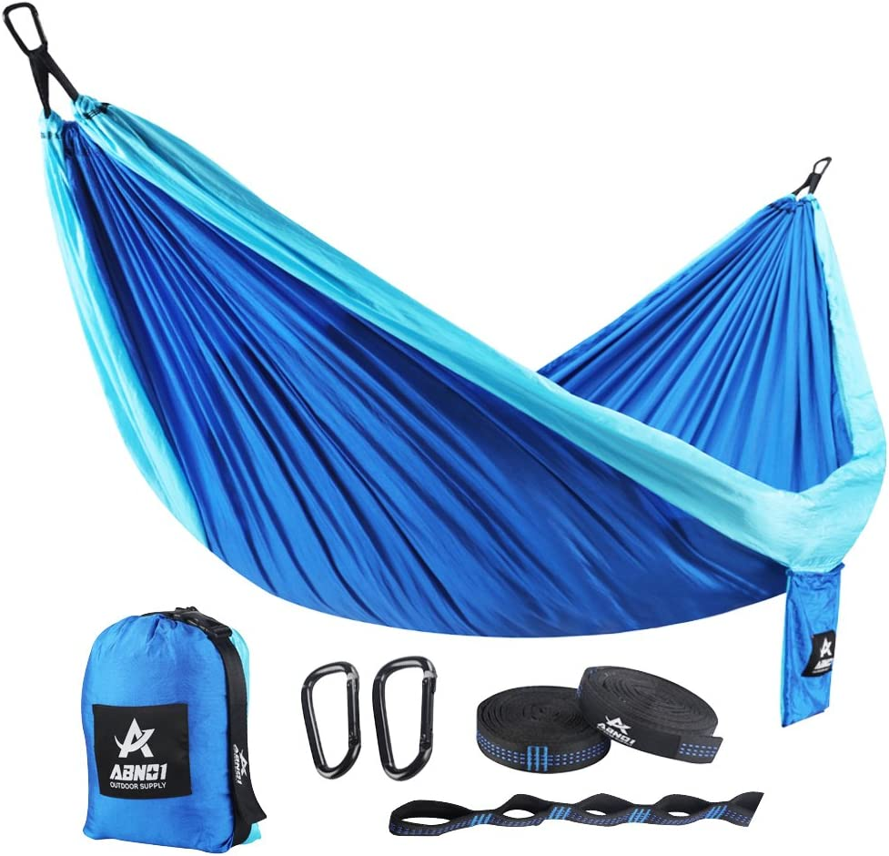 ABNO1 Double Camping Hammock – Travel Portable Two People Hammock with Carabiner Lightweight Doublenest Hammock with Straps for Backpacking, Hiking, Camping, Beach, Yard. 125 L x 79 W