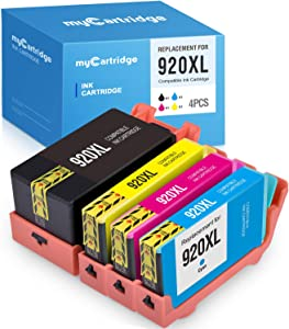 MYCARTRIDGE Compatible Ink Cartridge Replacement for HP 920XL 920 XL for Officejet 6500A 6500 6000 7500A 7000 (Black, Cyan, Magenta, Yellow, 4-Pack)