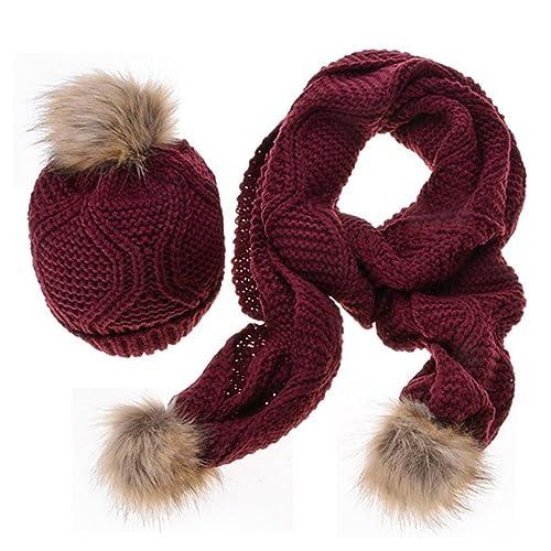 MTTROLI - Set de bufanda, gorro y guantes - para mujer Rojo Wine Talla única