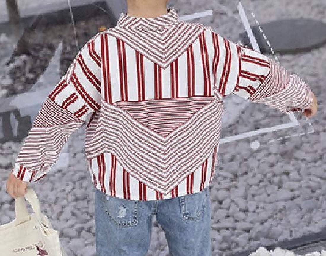 Macondoo Big Boy Irregular Printed Vogue Button Up Long-Sleeve Shirts