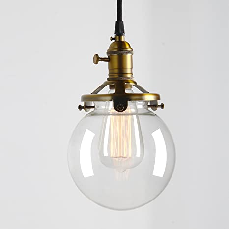 Permo vintage industrial pendant light fixture mini 59 round clear permo vintage industrial pendant light fixture mini 59quot round clear glass globe hand blown shade aloadofball Images