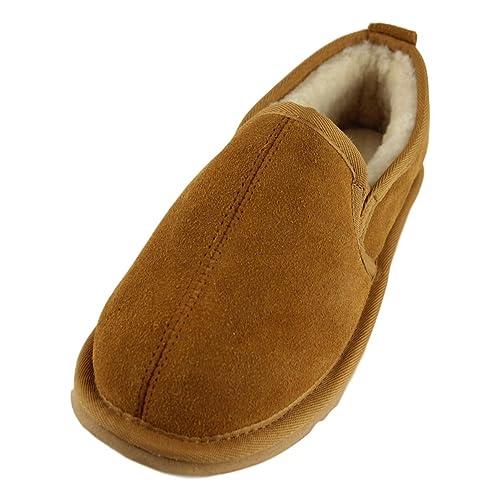 Mens Luxury Sheepskin Slipper Indoor Shoe with Hard Sole Chestnut