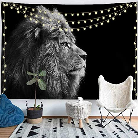 Black White Tapestry Wild African Map Print Wall Hanging Decor