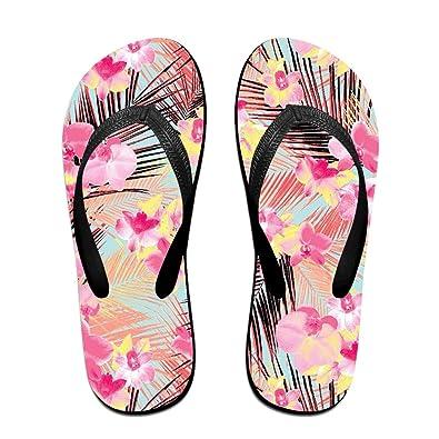 Summer Pink Flowers Printed Slides Sandals Flip Flops Outdoor Indoor Casual Comfy Slippers