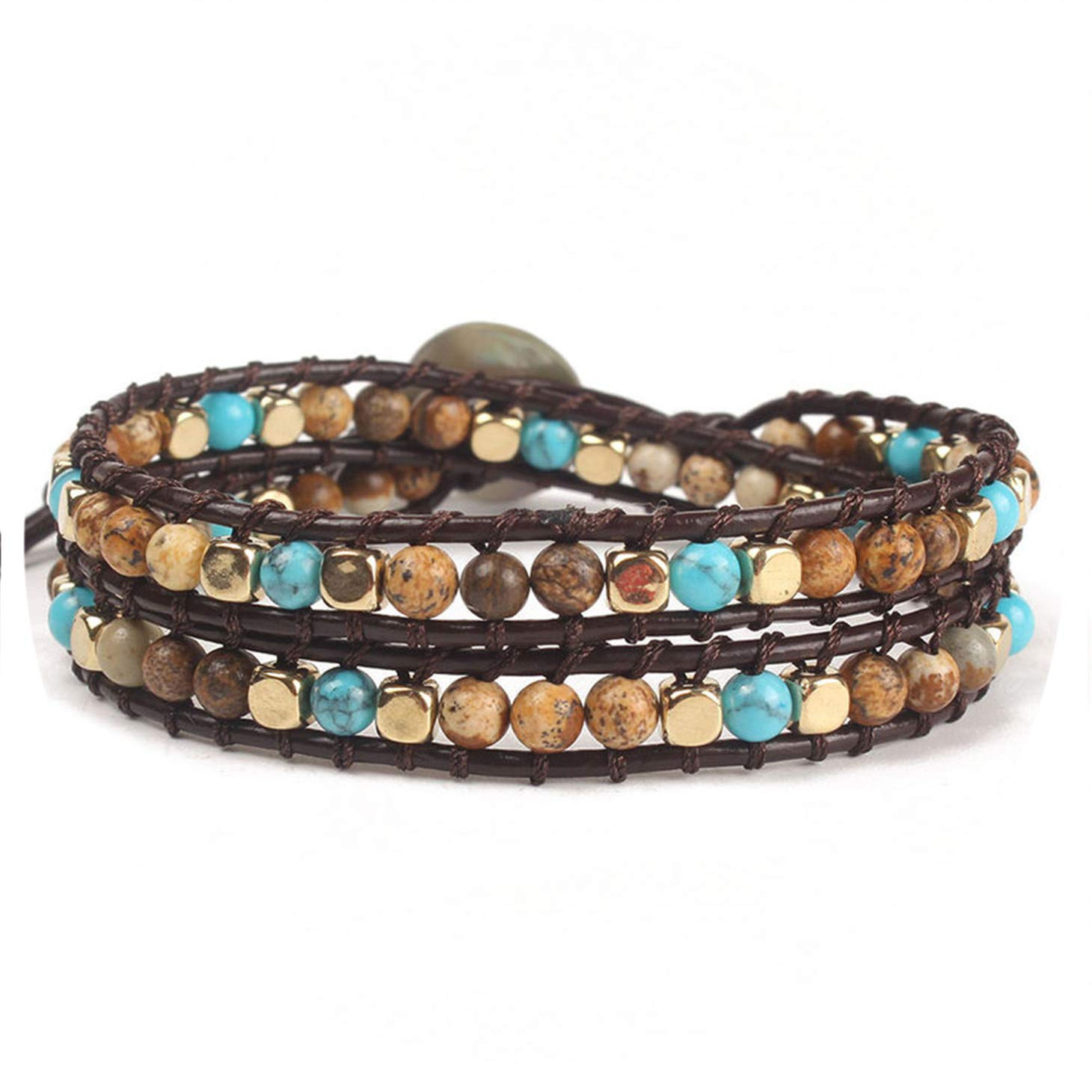 Olive Tayl Ethnic Bracelet & Bangles Handmade 4mm Semi-Precious Stones Beaded Bracelet for Men & Women Jewelry by Olive Tayl (Image #1)