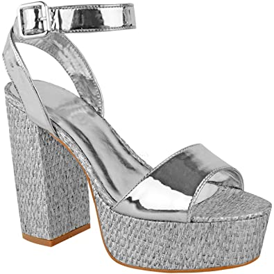 b079f00457f Womens Ladies Platforms Sandals Block Heel Ankle Strap Summer Barely There  Size
