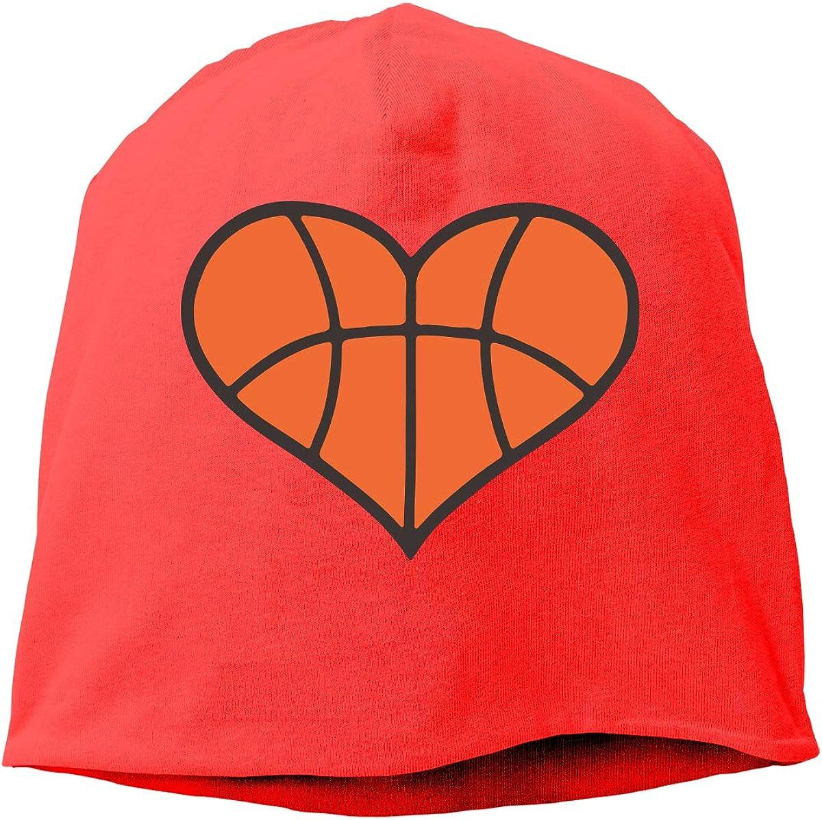 TLPM9LKMBM Basketball Heart Beanie Skull Cap for Women and Men Winter Warm Daily Hat