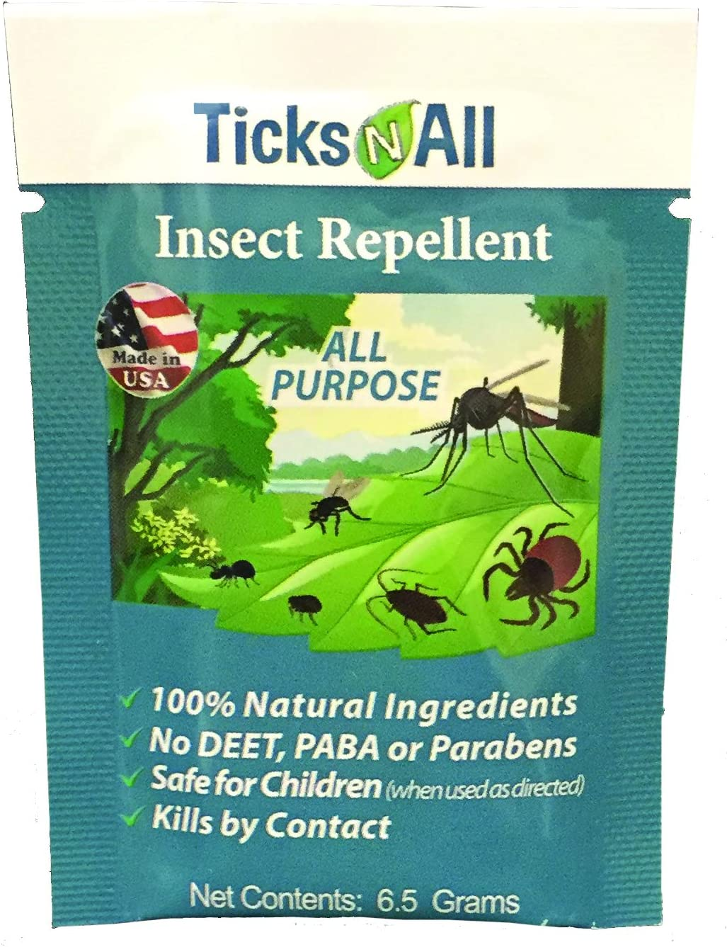 Ticks N All All Purpose Insect Repellent - All Natural Tick Repellent Wipes - Individually Wrapped Wipes [50 Count]