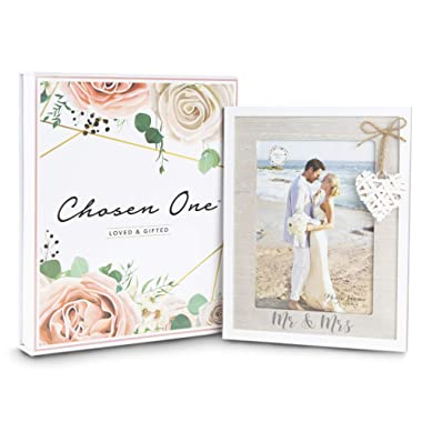 Mr & Mrs 5x7 Picture Frame by Chosen One – Rustic White Picture Frames with Heart Accent – Bridal Shower Gifts, Engagement Frame and Wedding Gifts for The Couple – Beach Style Wooden Picture Frame
