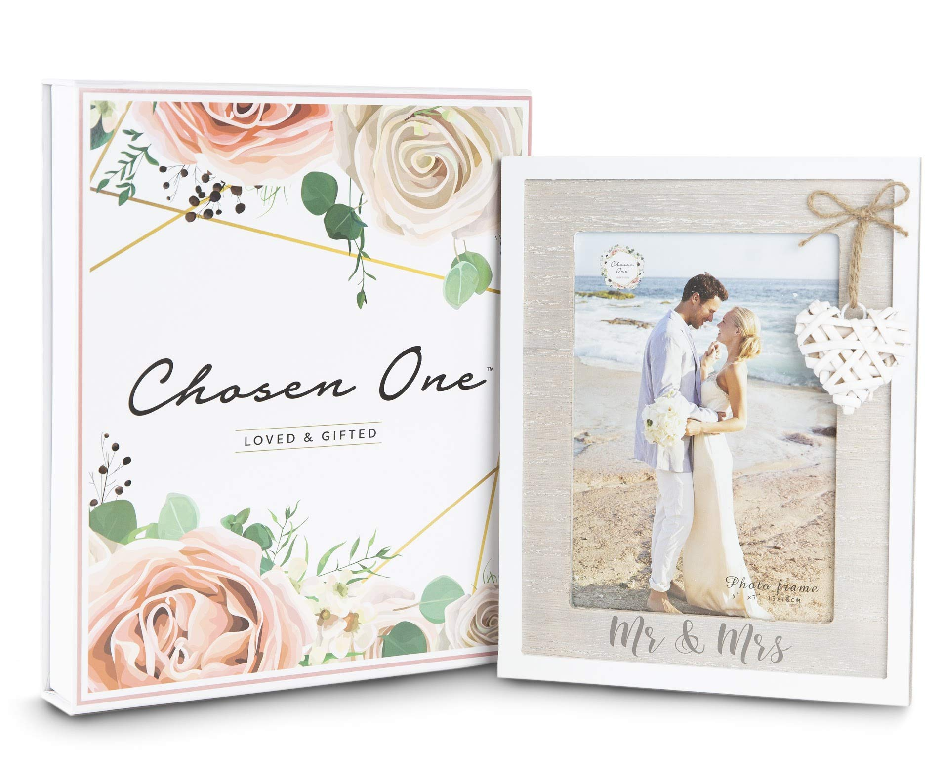 Mr & Mrs 5x7 Picture Frame by Chosen One - Rustic White Picture Frames with Heart Accent - Bridal Shower Gifts, Engagement Frame and Wedding Gifts for The Couple - Beach Style Wooden Picture Frame