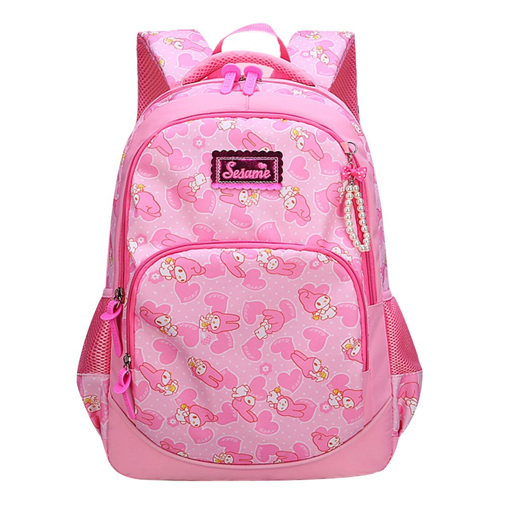 Girls Princess Backpack Waterproof Lightweight Pink Bunny School Backpacks With Lunch bag