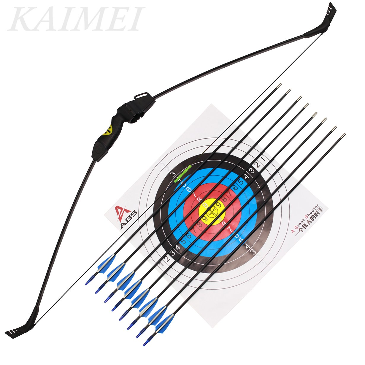 kaimei 48Inch Takedown Recurve Bow Archery for Youth Beginner Practice Hunting and Outdoor Shooting Weight Adjustable Right and Left Hand with 8 PCS Fiberglass Arrows