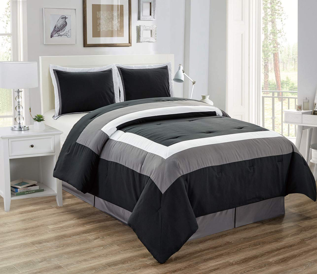 4-Piece All-Season Down Alternative Quilted Color Block Full Size Comforter Set- Hypoallergenic Summer Cooling Ultra Soft Bedding- Plush Microfiber Fill - Machine Washable (Black, Grey, White)