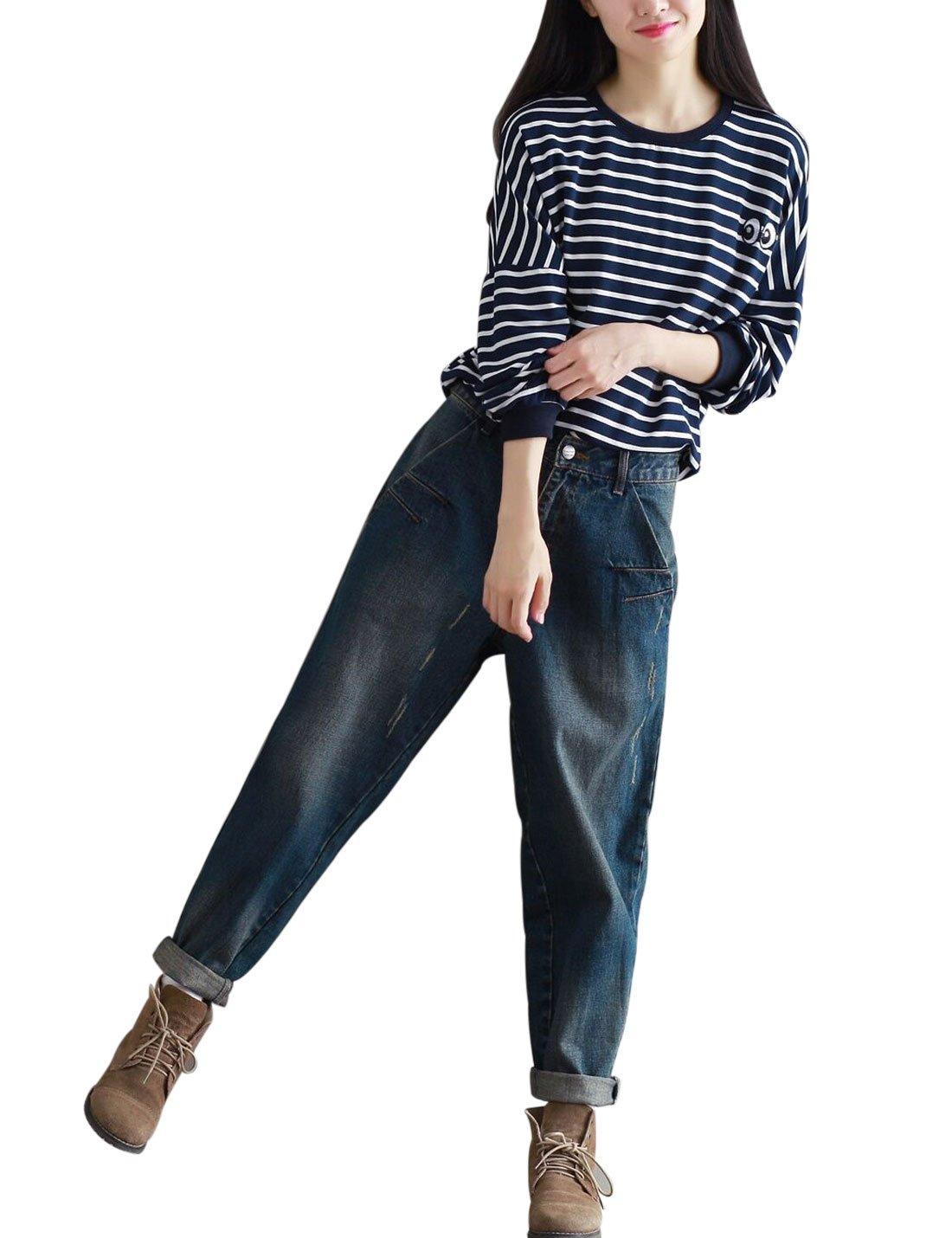 Yeokou Women's Casual Loose Distressed Baggy Harem Denim Jeans Cropped Pants (Large, Dark Blue) by Yeokou (Image #4)