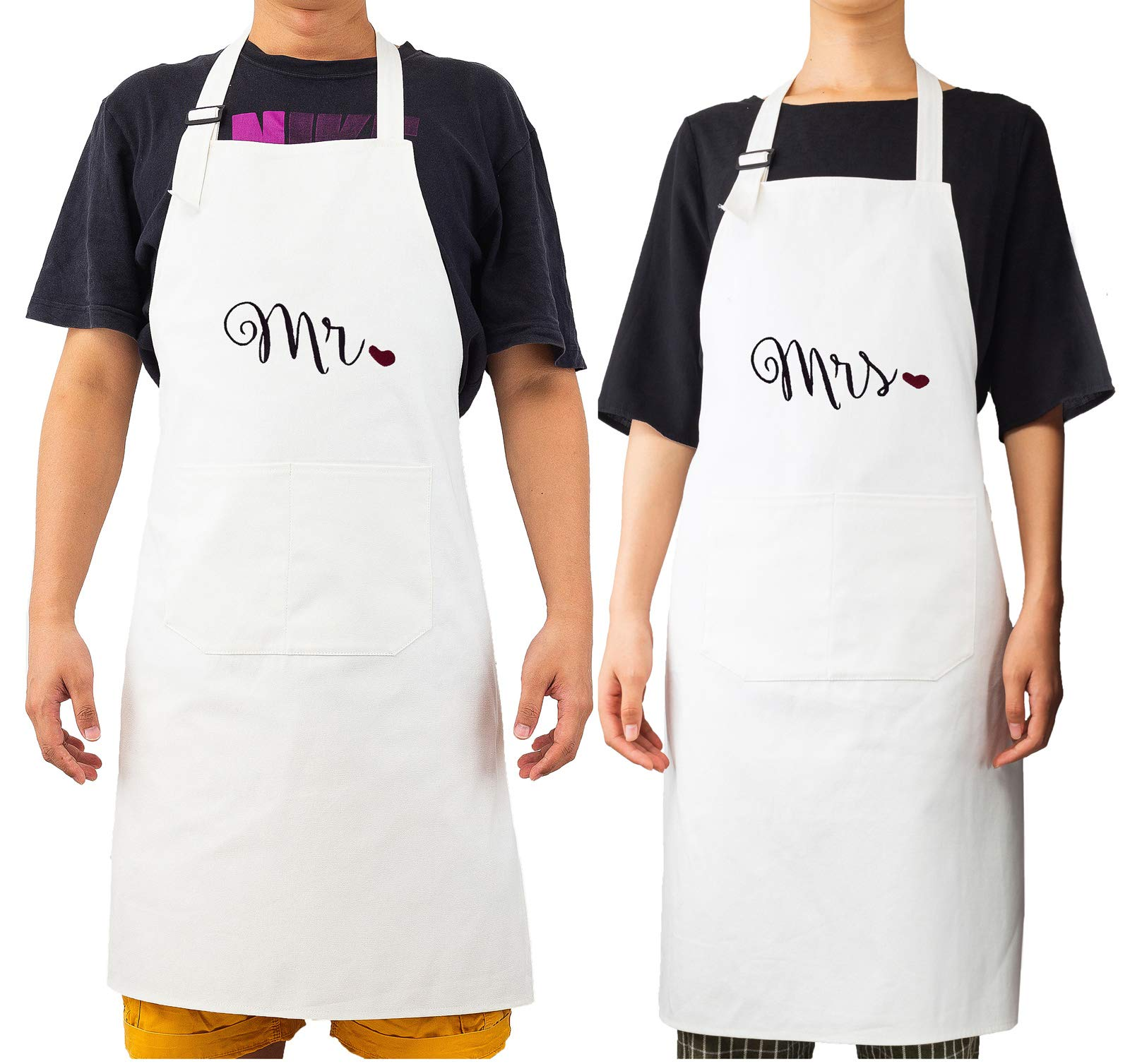 fun_idea Mr. and Mrs. Funny Embroidered Bib Apron Personalized Present Gift for Couples Wedding, Anniversary, Newlywed His & Hers Cooking Chef Apron (Heart)
