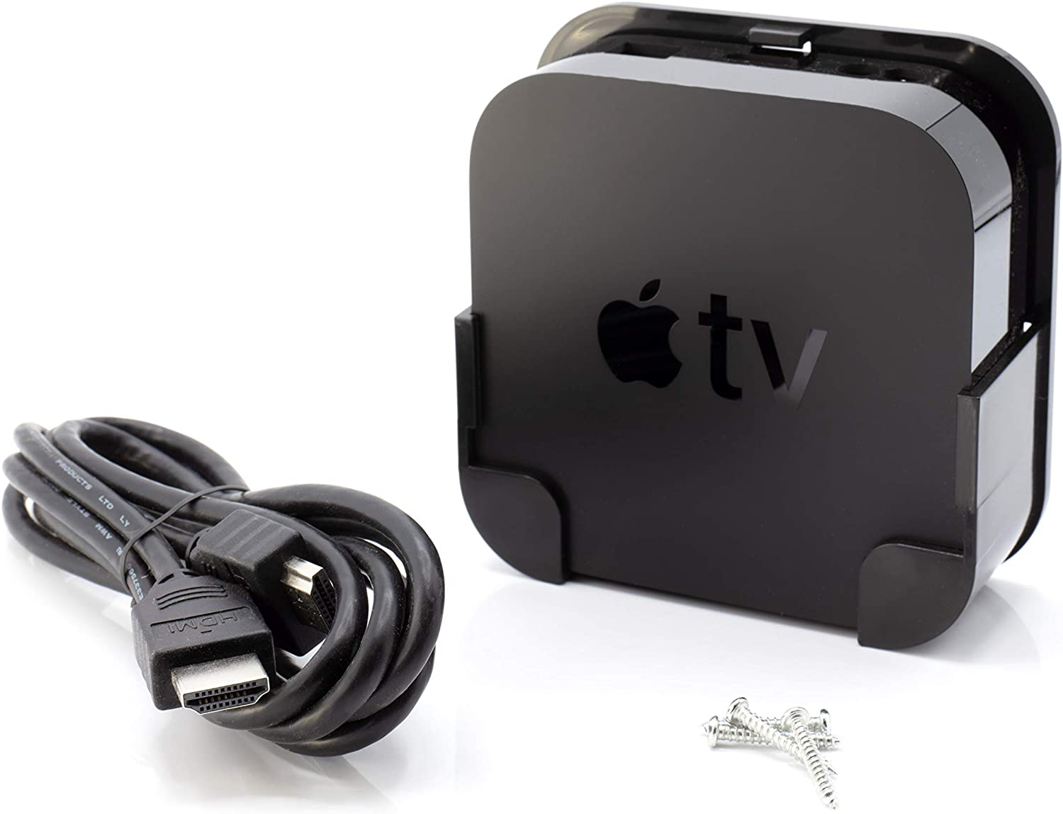 ATV 4K Mount - Compatible with 4th Generation Media Players - Easy Wall Mounting System - Includes a Premium HDMI Cable - Black (Works with Apple tv 4, and 4K)