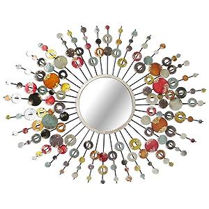 Miroir soleil mural en métal pastilles 68x89cm SPIRIT Multicolore