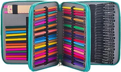 Estuche con 120 ranuras de Homeself para lápices de colores y artículos del colegio, organizador de lápices para pintar y dibujar, color verde: Amazon.es: Oficina y papelería