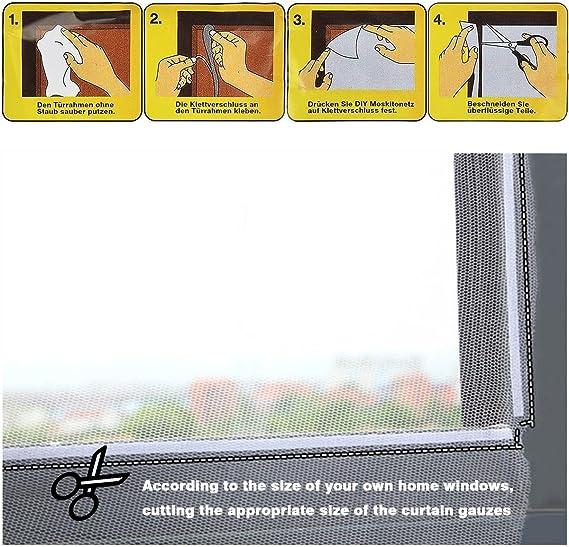 130cm x 150cm Bluelans/® Window Screen Netting Mesh Netting Insect Door Net Magnetic Tape White