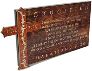 "Spirit & Truth Christian Home Decor Wall Art 3-D Crucified - Galatians 2:20"" Sign Plaque Distressed Wood Appearance Gloss Finish with Mounted Thorn Cross 24 x 13 x 1.5"