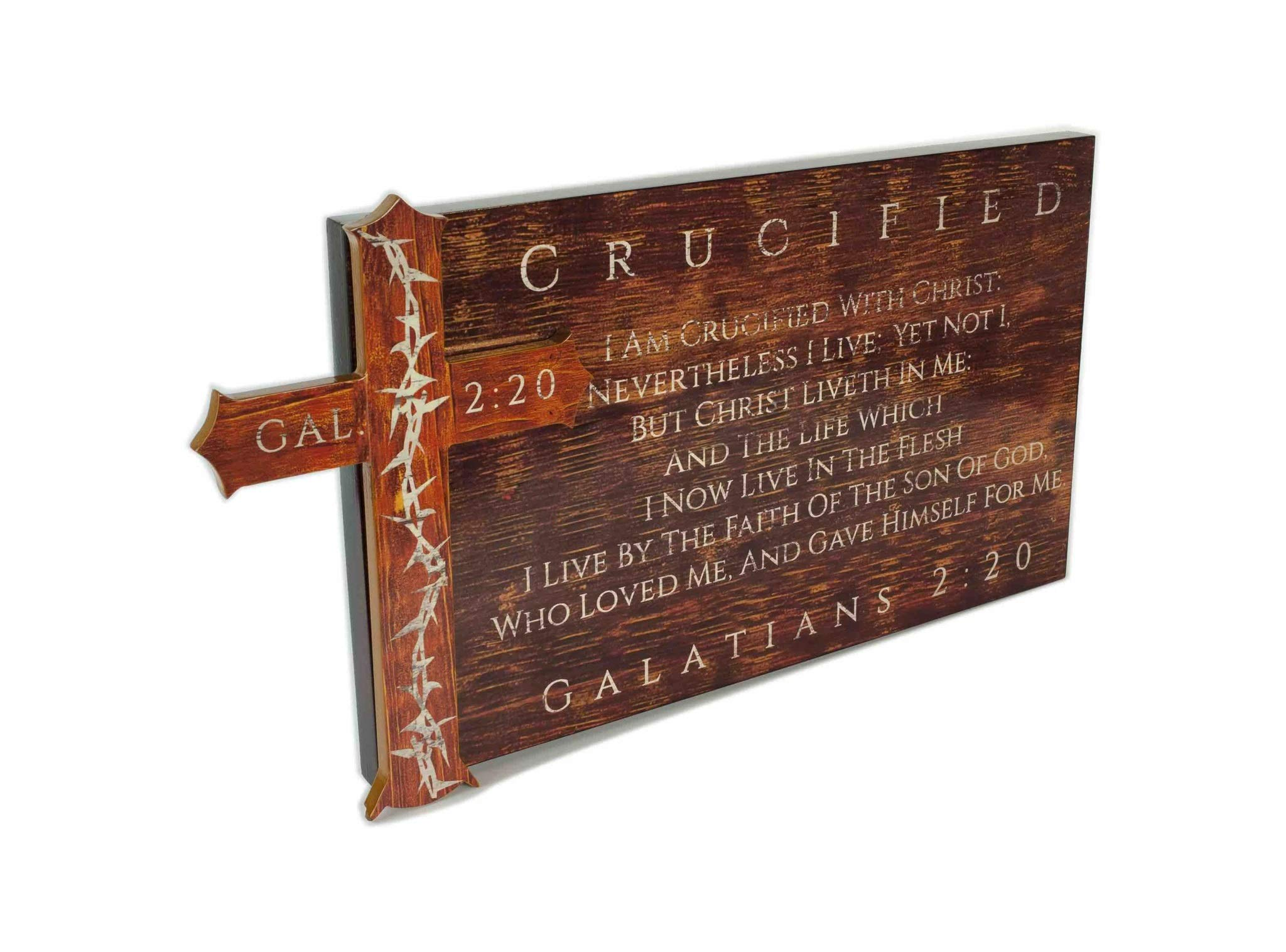 Spirit & Truth Christian Home Decor Wall Art 3-D Crucified – Galatians 2:20″ Sign Plaque Distressed Wood Appearance Gloss Finish with Mounted Thorn Cross 24 x 13 x 1.5