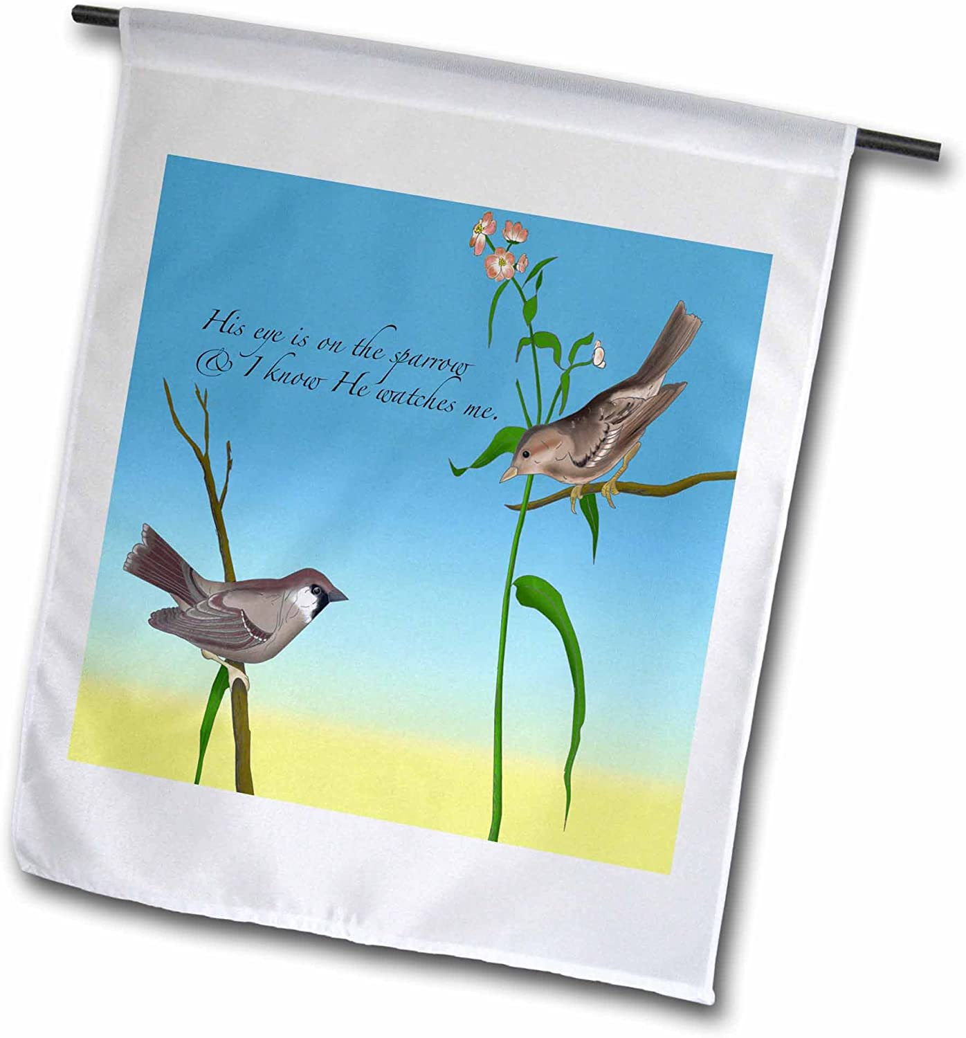 3dRose fl_184179_1 His Eye is on The Sparrow, Gospel Hymn Illustrated with Two Sparrows Garden Flag, 12 by 18-Inch