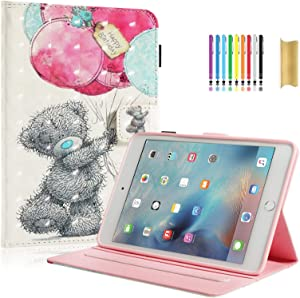 iPad Mini 5 Case, iPad Mini 4 Case, 7.9 inch iPad Mini Case, Dteck Smart Sleep Wake Cover Multi-Angle Stand Case for iPad Mini 5th/Mini 4th Generation 7.9 with Pencil Holder, Bear Balloon