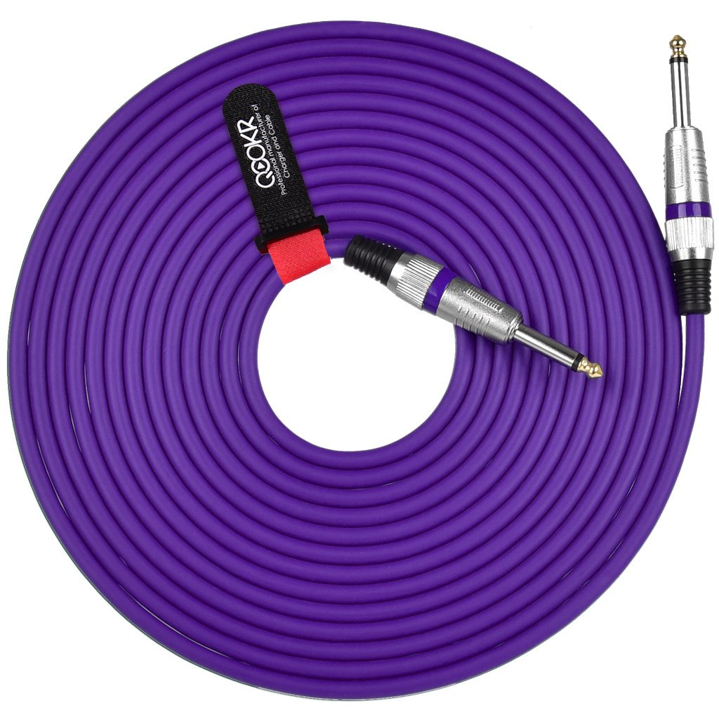 QOOKR 20ft Male to Male Straight 1/4'' TS Color Instrument Cable for Electric Guitar,Bass,Keyboard(20 Feet,Purple)