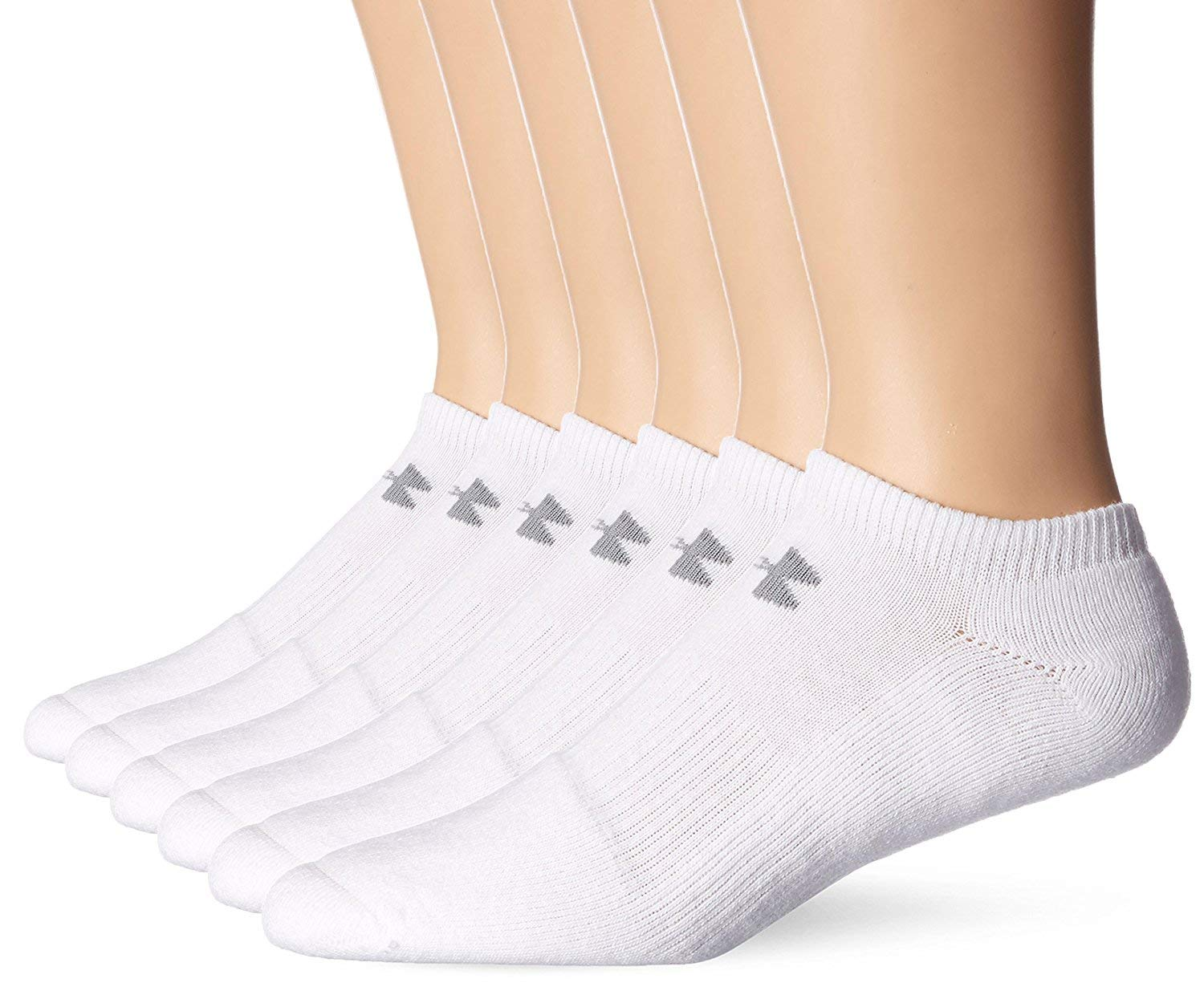 Under Armour Mens Charged Cotton 2.0 No Show Socks - (2-pk (12 Pair) Medium, White)