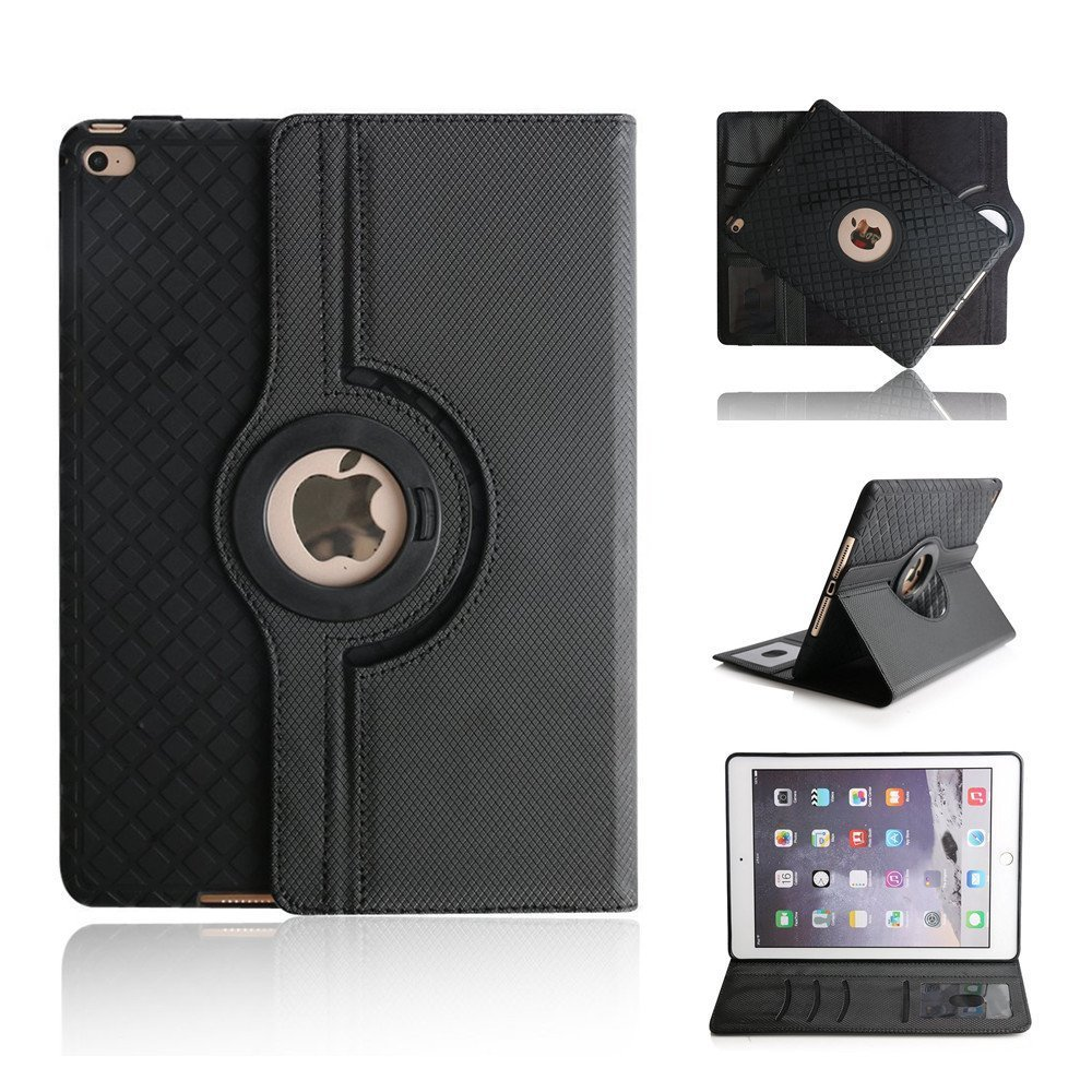 MIYA LTD Case for New iPad Mini 5 7.9'' 2019/iPad Mini 4 2015,360 Degrees Rotating Slim Lightweight Premium PU Leather with Viewing Stand Feature New iPad Tablet Protector Cover for Men/Women-Black